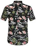 SSLR Herren Hawaiihemd Kurzarm Baumwolle Hemd Flamingos gedruckt Aloha Shirt für Strand Freizeit Reise (X-Large, Schwarz)