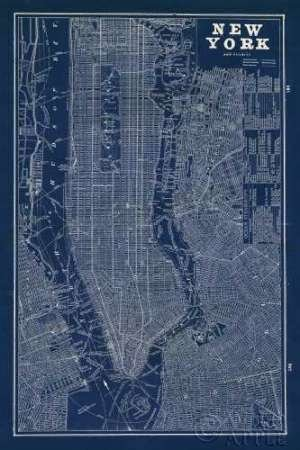 Feeling at Home Feelingathome.it-LEINWANDDRUCK-Blueprint-Map-New-York-cm118x78-poster-bild-auf-leinwand (Vintage New-york-city-map)
