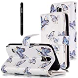 Slynmax Leder Tasche Schutzhülle für Samsung Galaxy S5 / S5 Neo Hülle Flip Wallet Case Etui Blau SchmetterlingPU LeatherLederhülleHandyhülle Schutz-Hülle Handytasche Klapphülle Ständer Karten Slot