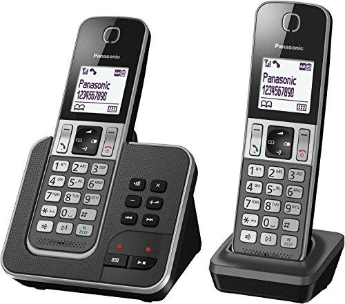 Panasonic KX-TGD322 DECT Identificador de Llamadas Negro, Gris - Teléfono (Teléfono DECT, Altavoz, 120 entradas, Identificador de Llamadas, Servicios de Mensajes Cortos (SMS), Negro, Gris)