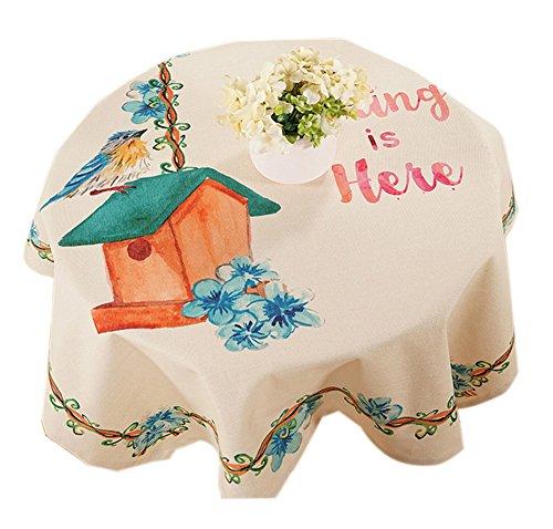 Weiße Quadratische Tischdecke Leinen (Quadratische Baumwolle und Leinen Pastoralen Stil Tischdecke, Vögel Haus)
