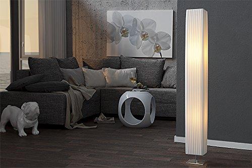 Stehlampe eckig 120cm Bauhaus Designer Standleuchte Weiß Chrom Latex Schirm Wohnzimmer
