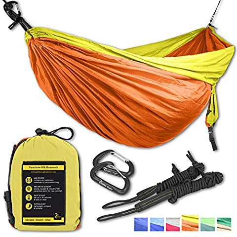 Double Eagle Hammock - Incl. 2 carabiners and 2 ropes - 118 x 78 in - 600 lbs load . Top Rated Best Quality Lightweight Parachute Nylon 210T Camping Hammocks for Hiking, Travel, Yard, Gift. 2 YEAR