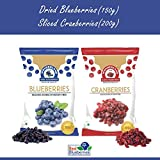 WONDERLAND FOODS (DEVICE) Sliced Berries Combo Pack Dried Cranberries 200 g and Blueberries