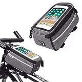 RUHRBASIS Fahrrad Rahmen Tasche Smartphone Outdoor Bag Wasserfest mit Touch Funktion für Mountainbike | Fahrrad-Touren für Samsung Huawei LG HTC Wiko Sony iPhone - schwarz | anthrazit