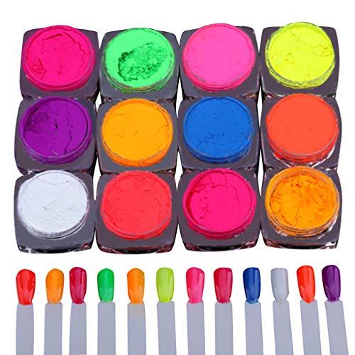 MA87 Nagel Neon Pigment Nagel Pulver Staub Nagel Glitter Farbverlauf Glitter Schillerndes Acryl -