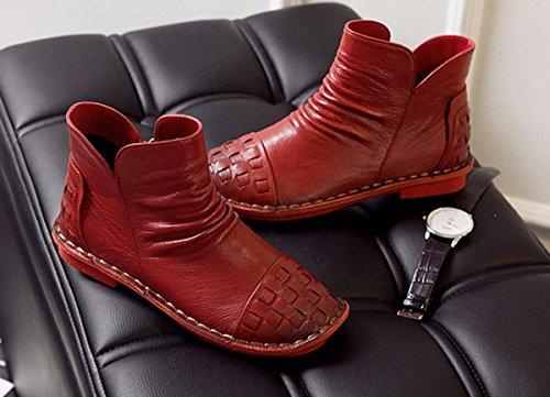 Femmes Dames Chaussures Nouvelles Chaussures Bottes Courtes Loisirs Basse Talon Tête ronde Cuir véritable Plus Cachemire Pompes antidérapantes chaudes Fête de lautomne Fête Travail Red