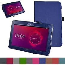 "bq Aquaris M10 Funda,Mama Mouth Slim PU Cuero Con Soporte Funda Caso Case para 10.1"" bq Aquaris M10 FullHD FHD HD / Aquaris M10 Ubuntu Edition Android Tablet,Azul oscuro"