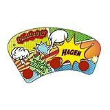 Wand-Garderobe mit Namen Hagen und schönem Comic-Motiv für Jungs - Garderobe für Kinder - Wandgarderobe
