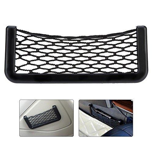 Schwarz Storage Netzwerk Mesh Tasche, Auto Trunk String Bag Aufbewahrung Netz Tasche, Nylon Elastic Netze Sticky Tasche Halter Veranstalter für Handys, Ladekabel, Zigaretten, 20× 8,5cm