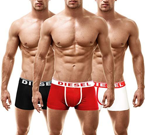 Diesel Herren DAMIEN 3 Pack Boxershorts Männer Unterhosen (Medium, Multi-WHITE)