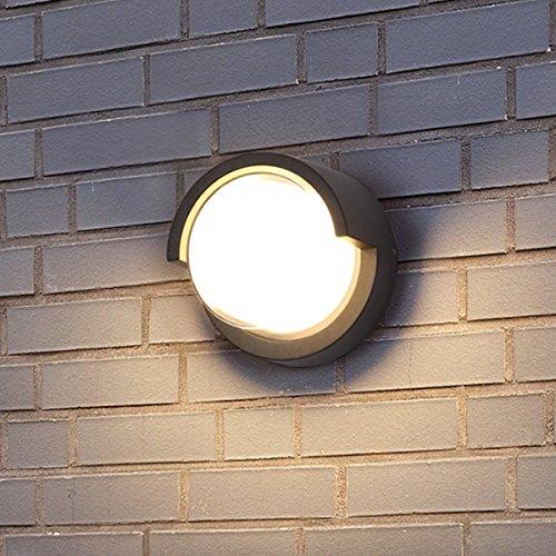 LANBOS 12W Lampada da Parete per Esterno,Applique da Parete Impermeabile IP65 Lampada Muro in Alluminio+acrilico,3000K Bianco Caldo,17X10cm,nero (tondo)