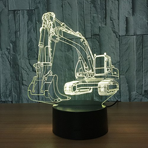 3D Baggernachtlicht Illusion LED Tabelle Tauchen 7 Farben USB Neuheit Auto Form Schreibtisch Nachtlicht dekorative Lichter, Kindergeschenke -