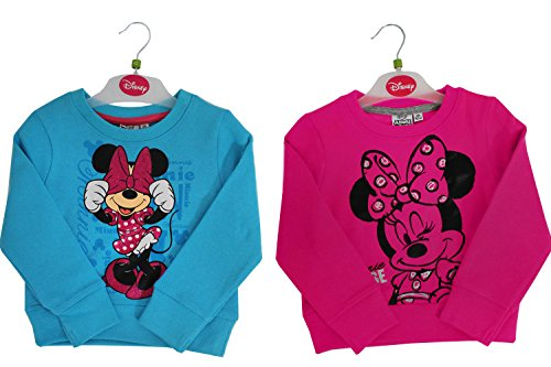 GIRLS MINNIE MOUSE TOP - PINK DISNEY JUMPER SWEATSHIRT WITH MINNIE MOUSE GLITTER PRINT FOR 2 - 8 YEAR OLDS