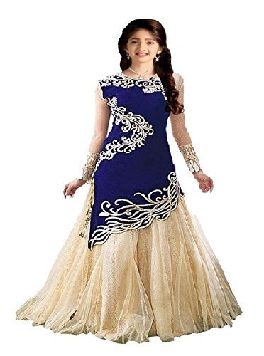 Fashion Duds Velvet Semi Stitched Salwar Suit Sets For Girls Party wear Gown (Blue_Free Size_7 year, 8 year, 9 Year, 10 Year, 11 Year, 12 Year age_Zoya Blue)  available at amazon for Rs.399