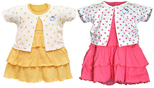 Orange and Orchid Baby Girl's A-Line Knee-Long Dress (Pack of 2) (ONOKDSFRK13_6-12_Multicoloured)