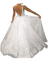 Vestidos de Fiesta Mujer SUNNSEAN Sólido Blanco sin Mangas con Lentejuelas de Costura Cuello V Espalda Abierta Simple Sexy Vestido de Novia Falda Larga de Fiesta