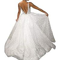 showsing-women clothes Vestido Largo con Espalda Descubierta, para Mujer, con Cuello en V, con Lentejuelas, para Fiesta, Mujer, Color Plata, tamaño Large