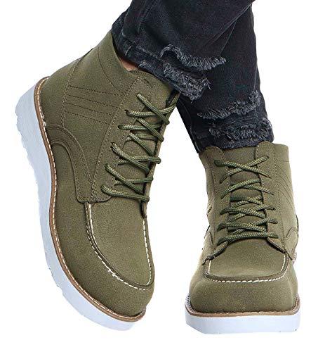 LEIF NELSON Herren Schuhe Klassische Stiefel Freizeitschuhe Boots Elegante Winterschuhe Männer Sneakers LN161; 41, Khaki