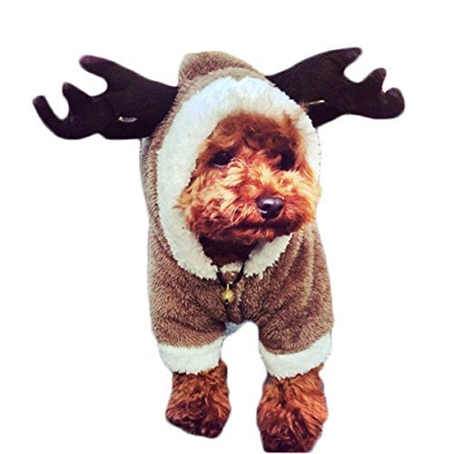 (L-Peach Hund Weihnachtskostüme Haustier Weihnachten Weihnachtsmann Kostüm mit Hut Warm Mäntel Kostüme für Kleine Mittlere Hunde Katze)