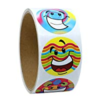 "1.5"" Inch Round Colorfull Smiley Face Happy Stickers 100 Adhesive Labels Per Roll"