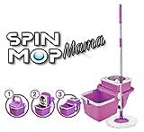 Spin Mop Mama - Práctico cubo de fregona plegable con sistema giratorio de 360º, fregona de microfibra y palo de acero inoxidable, color morado