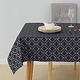 Deconovo Nappe Gris Foncé Jacquard Impermeable Nappe de Salon pour la Table Rectangulaire Motif Marocain 140x300cm