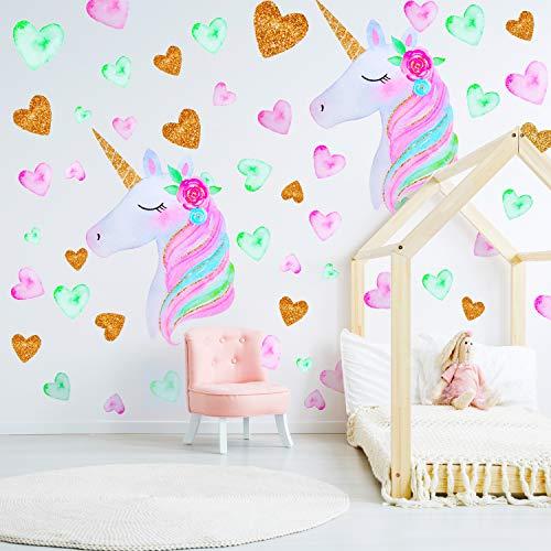 2 Piezas de Unicornio Calcomanías de Pared Decoración de Colores Unicornio Pegatinas de Pared con Flor de Corazón Para los Niños Dormitorio, Cuarto de Niños (Conjunto de colores 1)