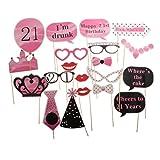 sharplace Happy 21st Birthday Photo Booth Requisiten Kit auf Sticks New Party Supplies