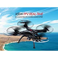 NCC® SYMA X5SW WIFI FPV REAL-TIME QUADROCOPTER MIT 2 MP KAMERA UFO MIT VIDEO LIVE-ÜBERTRAGUNG HEADLESS MODE 2.4G 4CH 6 ACHSE- NEUESTE MODELL IN SCHWARZ