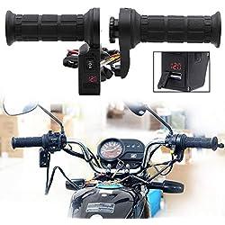 Fansport 1 Par Puentes Calefactados Motocicletas Cargador USB Y Voltímetro con Empuñadura 3 En 1