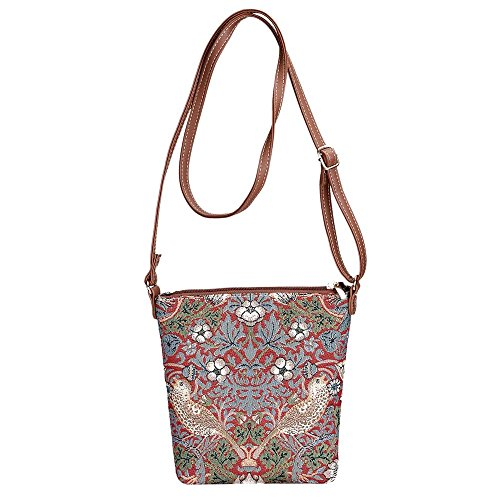 Signare - Borsa a tracolla donna Strawberry Thief Red