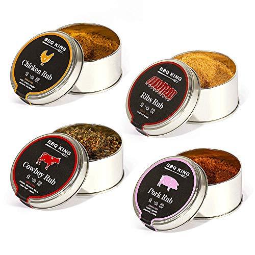 Multi pack rub per barbecue - 4 confezioni di rubs - 4 x 70gr - spezie barbecue