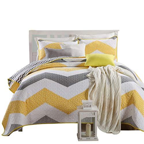 Topmail amerikanischen Tagesdecke Gesteppte Baumwolle Gelb 3tlg. Sommerdecke Bettüberwurf Bettdecken 240x270cm weiß gelb und grau Streifen übergroße Bettdecke Außenhandel Quilting Bettwäsche - Bettbezug Gelb King-set