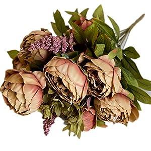 iTemer 1 ramo de flores artificiales de 6 cabezas, peonías falsas de seda, hojas de estilo europeo para ramo de novia…