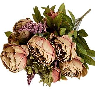itemer 1ramo 6cabezas flores artificiales, Artificial peonía flores de seda hoja de estilo europeo para ramo de novia boda fiesta sala de estar DIY decoración de jardín
