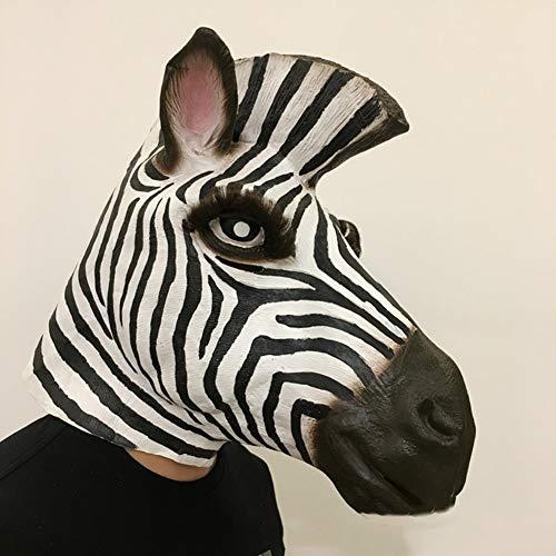 YXXHM- Zebra Maske Halloween Horse Head Maske Natural Latex Maske Head Cover Performing Decoration (Zebra Kostüm Haar)