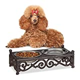 Relaxdays Futternapf Antik Set, Kleine Hunde, Doppelnapf Landhaus, Gusseisen Napfhalter, Edelstahlnäpfe je 250 ml, Braun