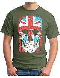 OM3 Union-Jack-Skull - T-Shirt England Great Britain Flag GB UK World Is Bones USA