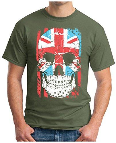 OM3 - UNION-JACK-SKULL - T-Shirt ENGLAND GREAT BRITAIN FLAG GB UK WORLD IS BONES USA Oliv