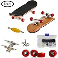 Mini diapasón, Patineta de dedos profesional para Tech Deck Maple Wood DIY Assembly Skate Boarding Toy Juegos de deportes Kids Christmas Gift por AumoToo (Rojo)