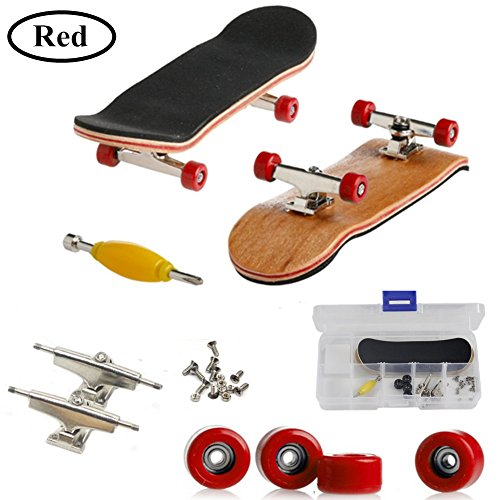 AumoToo Mini Fingerboard, Professional Finger Skateboard Maple Wood DIY Assembly Skate Boarding Toy Sports Games Kids (Red)