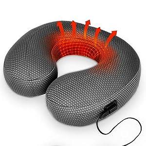 Warmes Nackenkissen – U Typ Nackenkissen Aufblasbar Nackenhörnchen Reisekissen elektrische USB Heizung beheizt Kopfkissen Infrarot Therapie Nackenhörnchen für Halsschmerz