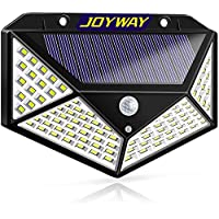 JOYWAY-Blue carbon Solar Lights Outdoor, Solar Powered Motion Sensor Lights 100 LEDs Outdoor Waterproof Wall Light Night Light with 3 Modes with 270° Wide Angle for Garden, Patio Yard, Deck Garage,