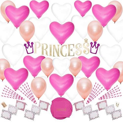 zessin Für Mädchen von Decorewall - Deko Geburtstag Set - Dekoration Party Gold und Rosa Für Baby - Luftballons Krone Pompoms - Happy Birthday Partyset - Geburtstagsdeko ()