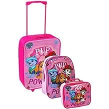 Nickelodeon, Patrulla Canina - Juego de maleta con ruedas, mochila escolar y bolsa para el almuerzo, Rosa, Luggage