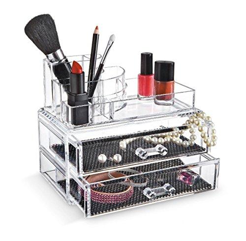 Make-up Organizer, Acryl, groß, mit Schubladen, Transparent