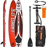 SKIFFO Koast 12.6 SUP 381 x 76 x 15 cm Inflatable Isup aufblasbar Alu-Paddel Stand Up Paddle Board Set Pumpe Surfboard Paddelset