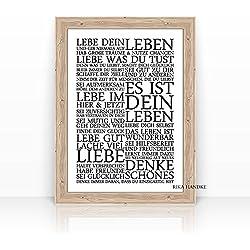 """LEBE DEIN LEBEN"" KUNSTDRUCK - Familie - Glück - Poster - Format: A4 - ohne Rahmen"