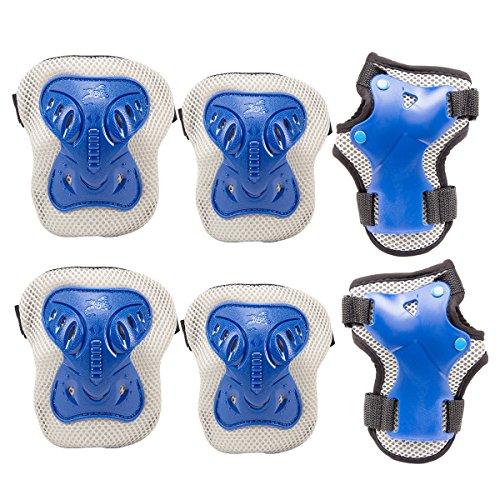 Skate-roller Aggressive (Pamase Knieschoner-Set zum Radfahren, Roller-Skating, Knieschoner, Handgelenkschutz, Ellenbogenschutz, Rollerblade-Schutz–Knieschoner-Set für Erwachsene und Kinder Medium blau)